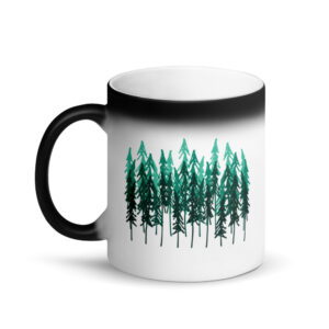 Simple Drawn Forest | Matte Black Magic Mug