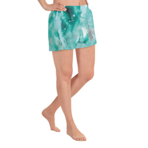 Green Painted Women's Athletic Shorts | 2.5″ inseam
