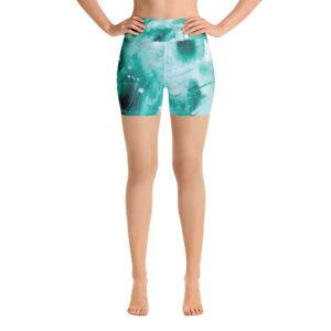 Green Painted Yoga Shorts