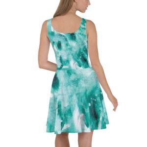 Green Painted Skater Dress