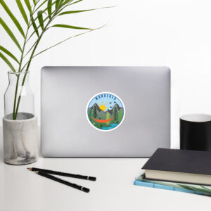 Wanderer | Hammock | Mountains | River | Trees | Bubble-free Stickers