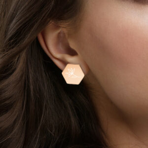 Etched Continuous Line Flower | Rose Gold or Gold Coated | Sterling Silver Hexagon Stud Earrings