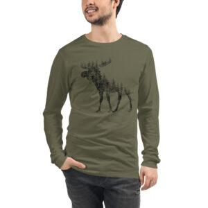 Pine Tree Moose   Unisex Long Sleeve Tee
