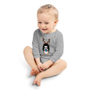 Penguin wearing Antlers | Holidays | Infant Long Sleeve Bodysuit